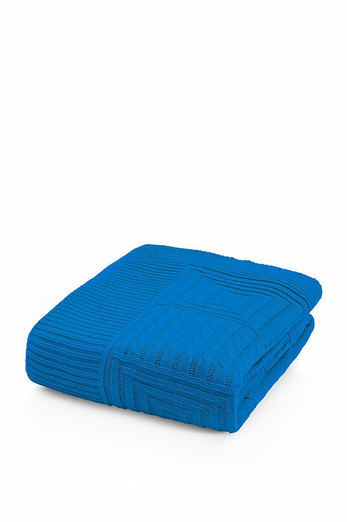 Tricot Blanket - 130x170 Cm-Natural Blue