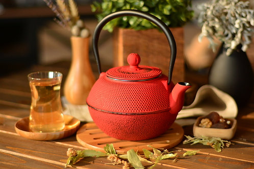 Taşev Linden - Menekşe 1200 ml Red Iron Teapot T2767