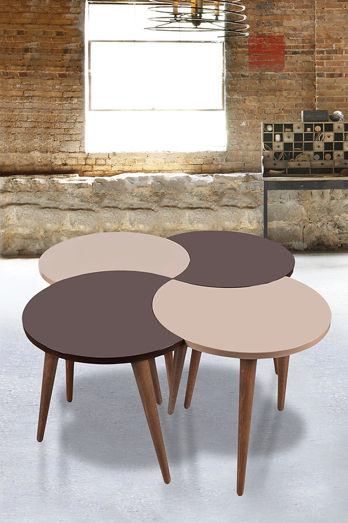 4 Pieces Nesting Table Brown-Cappuchino