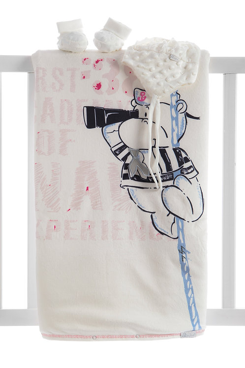 Baby Line Sailor Bear Print. Velboa Blanket Set 97