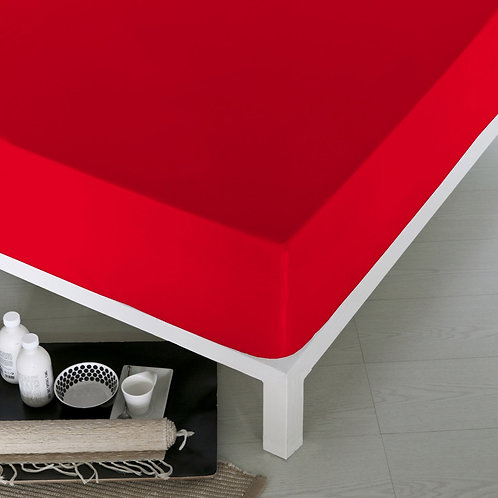 Home de Blue Fitted Sheet 160x200 Cm -(Ak) - Red