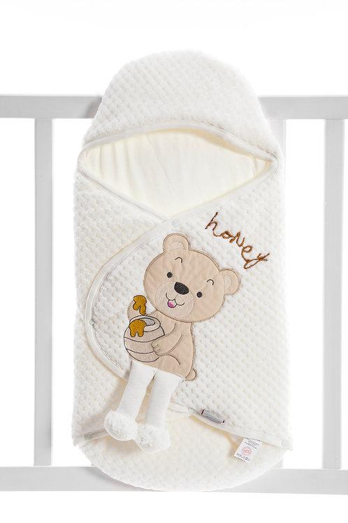 Bebecix Bear Embr. Wellsoft Swaddle 4514- Cream