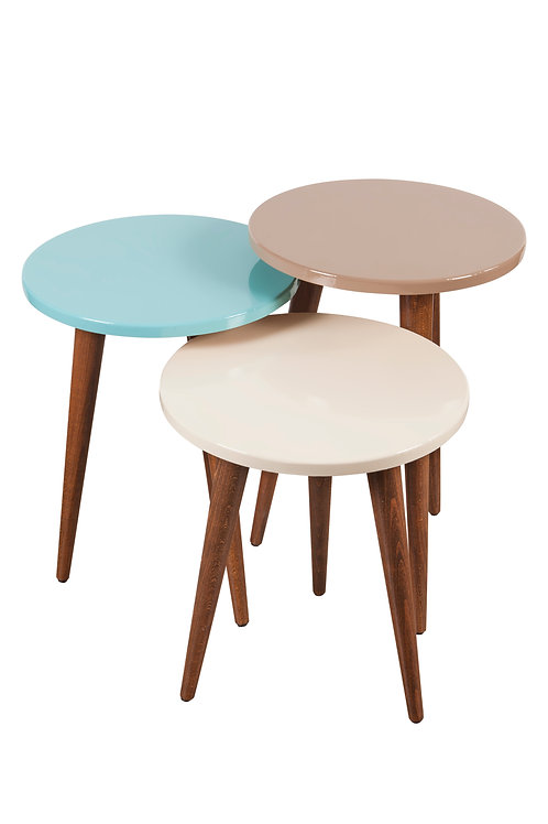 3 Pieces Nesting Table Cappuchino-Cream-Blue