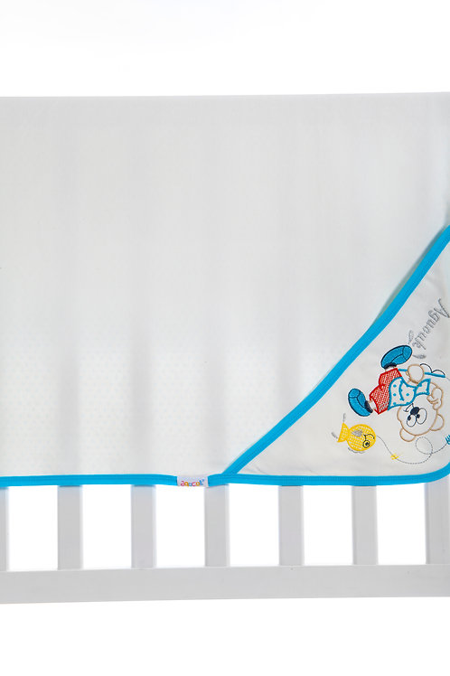 Agucuk  Embroidered Blanket 1168-Cream Turquoise