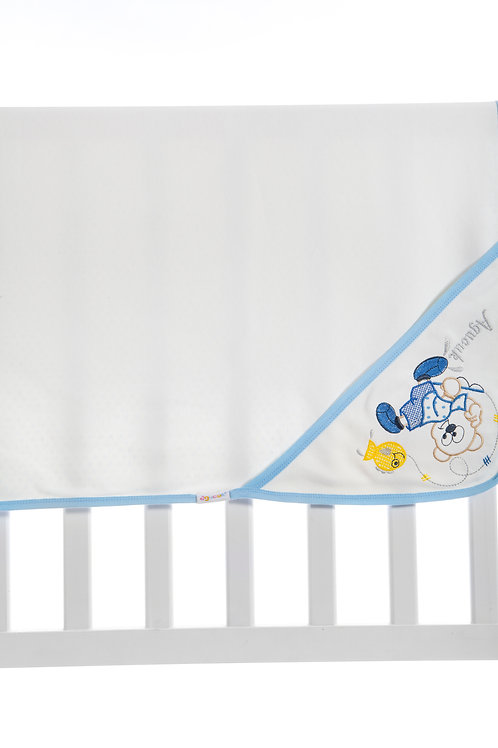 Agucuk  Embroidered Blanket 1168-Cream Blue