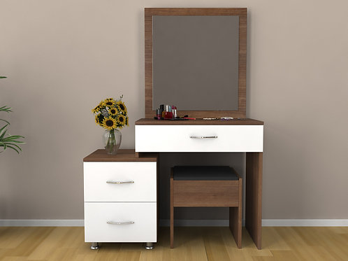 Bestline Nice Dressing Table Set w/mirror-pouff - Walnut