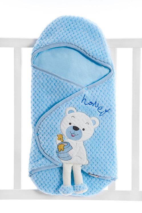 Bebecix Bear Embr. Wellsoft Swaddle 4514- Blue