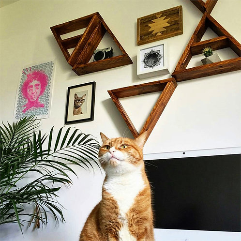Dekorjinal Solid Wooden Triangle Shelf Set