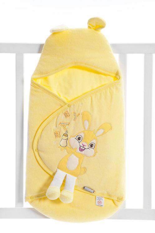 Bebecix Rabbit Embr. Velvet Swaddle 4500-  Yellow