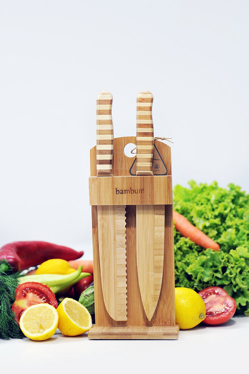 Bambum Chapati 2 Pcs Knife set with stand