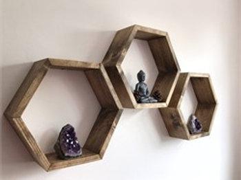 Dekorjinal Wooden 3 Pcs Wall Shelf Hex001