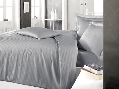 Clasy Cotton Duvet Sets - Striped Gray