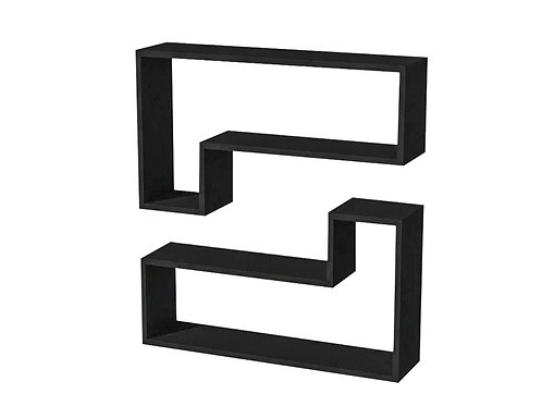 OZY Wall Shelf 2 Pcs - Black - OZYDR.S.18.01 kopyası
