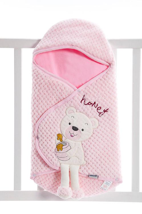 Bebecix Bear Embr. Wellsoft Swaddle 4514- Pink