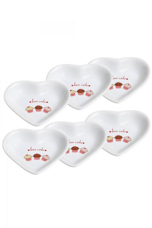 6 Pcs Snack Bowl Heart 14 Cm  004