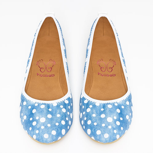 Rollbab-White spotty -RetroRoll-Tumbled jeans