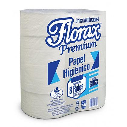 Papel Higiênico Rolão Florax Premium (Folha Simples) 300 m Fardo c/ 8 rolos
