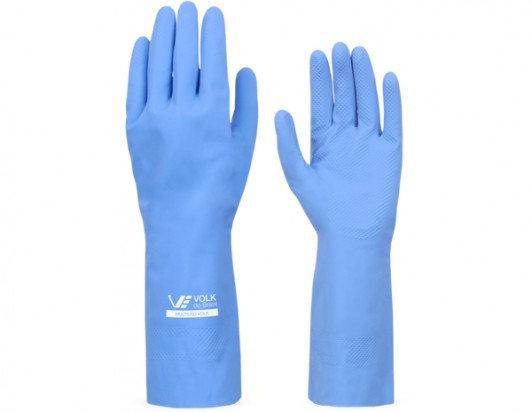 Luva de Látex Volk c/ Forro Azul M (par)