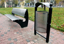 Скамейка и урна изготовленые на станках лазерной резки и координатнопробивном прессе