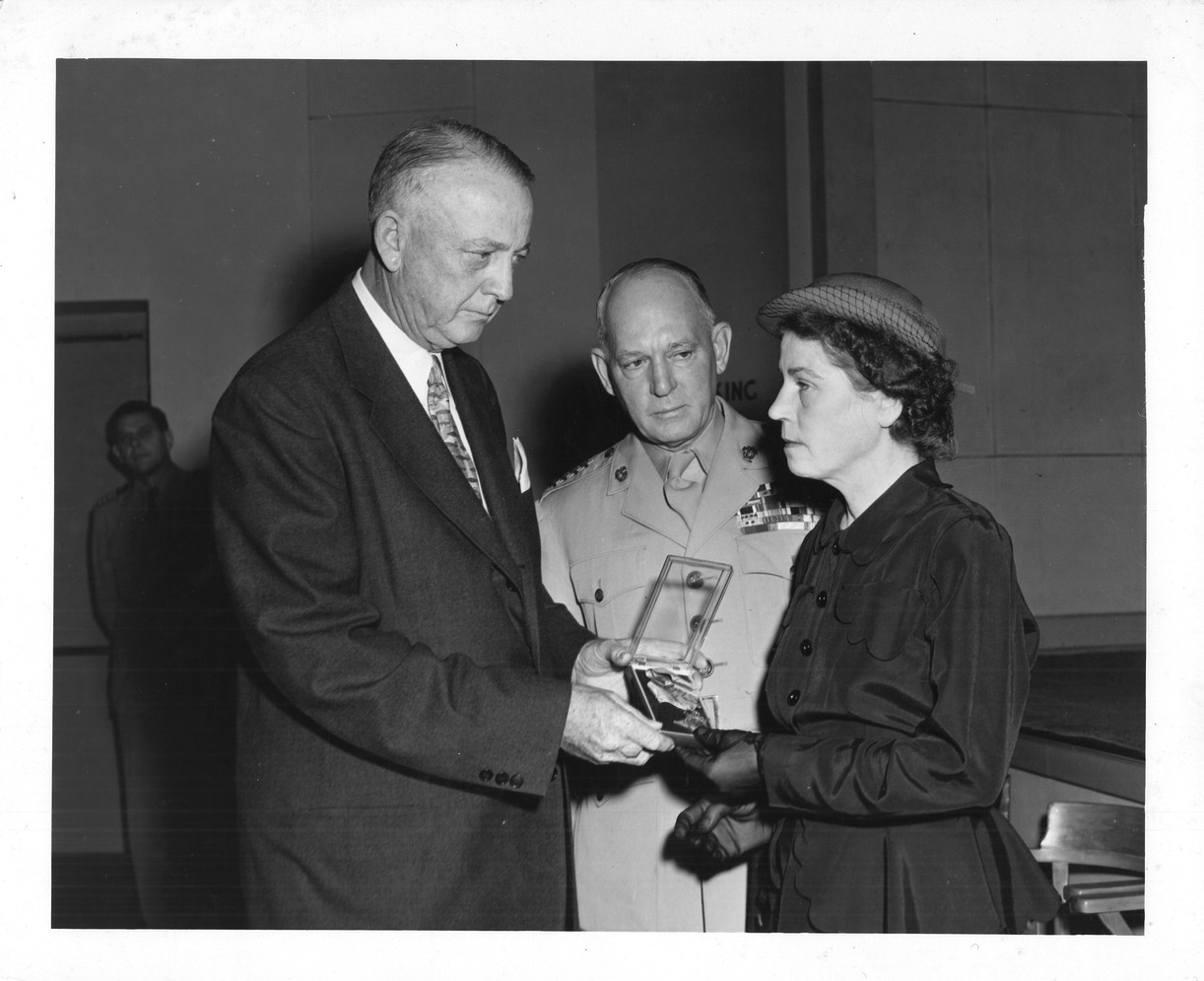 Mrs. Abrell Receiving the Medal
