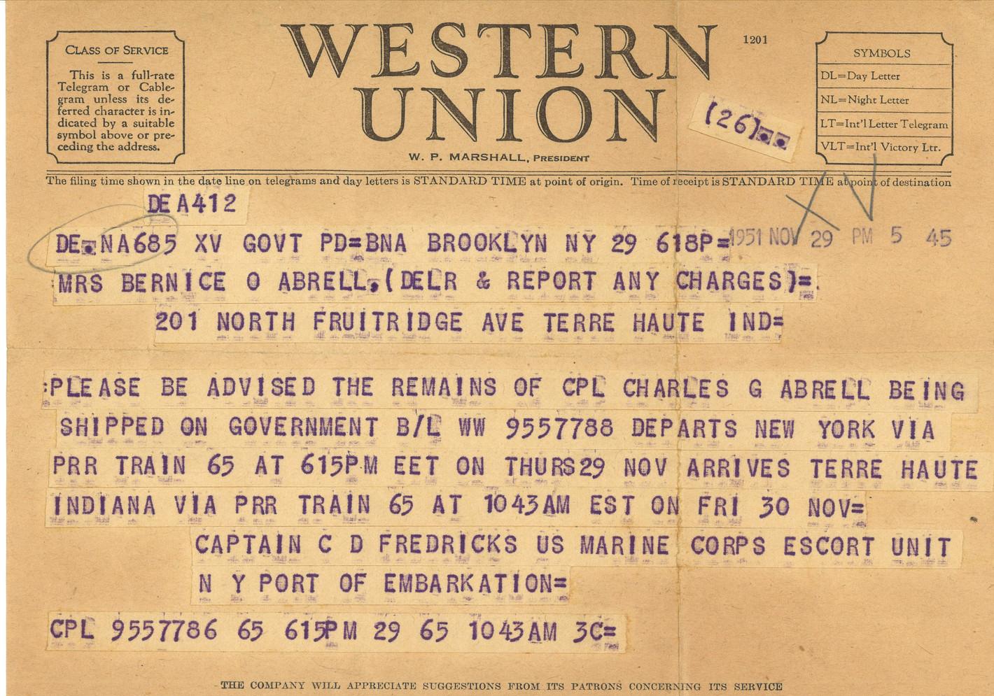 Telegram-Arrival of Remains