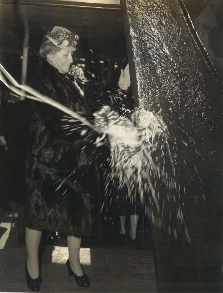 Christening the SS Terre Haute Victory