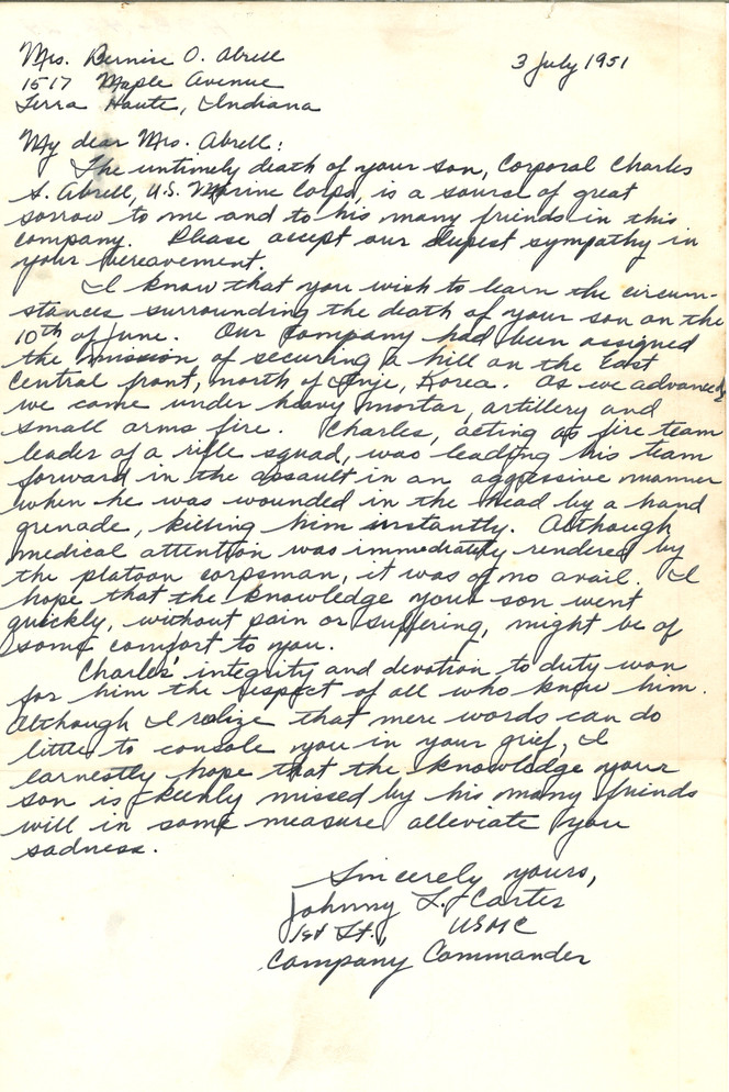 Sympathy Letter