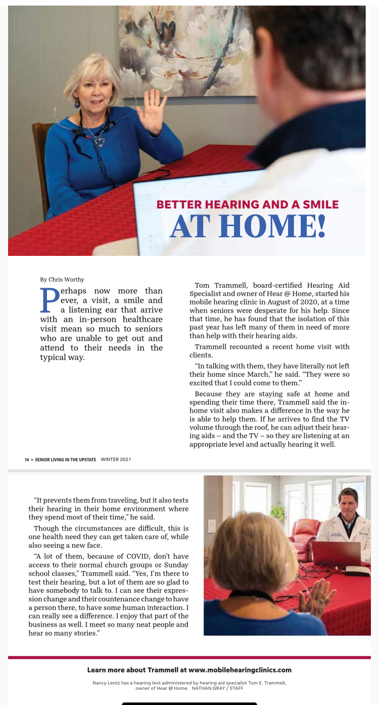 Press Release for Hear@Home Mobile Clinics Greenville SC. An interview with Tom Trammell and the value of his in-home hearing healthcare service to seniors. Published by Senior Living in the Upstate magazine.