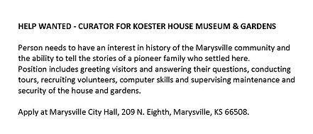 HELP WANTED KOESTER MUSEUM CURRATOR.jpg