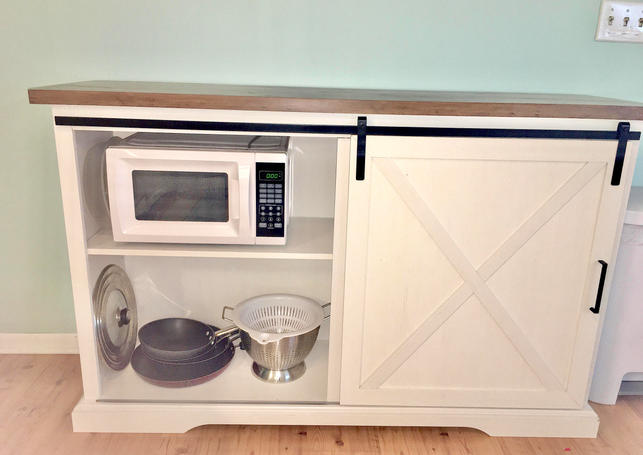 MIcrowave cabinet and extra storage