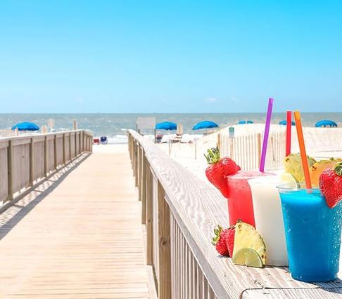 Beach Boardwalk with drinks