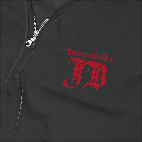 JAYMES BULLET Monogram Logo Embroidered Zip Hoodie