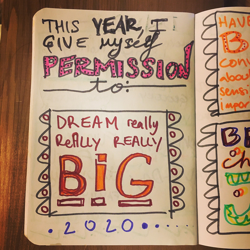 """Journal page with handwritten text, 'This year I give myself permission to: Dream really, really, really Big"""" 2020"""