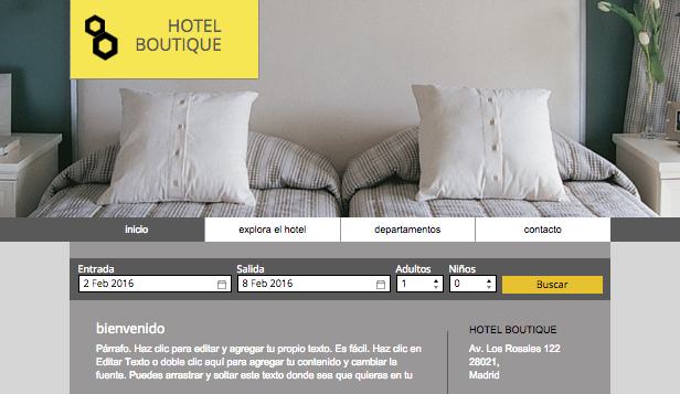 Hospedaje website templates – Hotel boutique