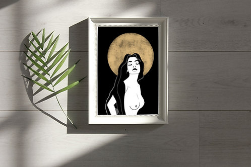'Golden Moon Girl' Print
