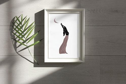 'Pink Moon Girl' Print