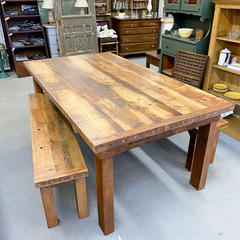 Custom Reclaimed Table and Matching Benc
