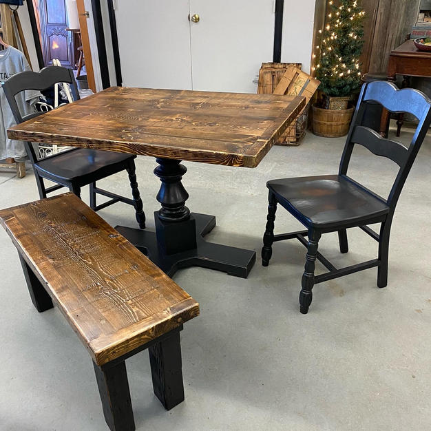 Custom Reclaimed Table, Bench and Chairs