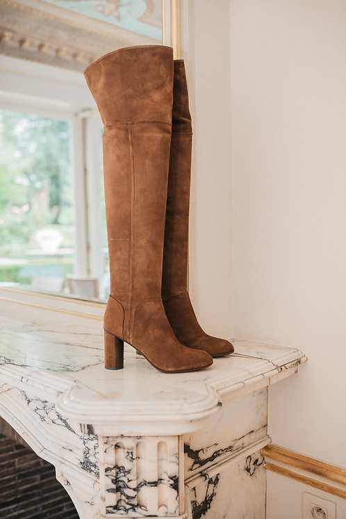 Over the knee boots - brown suede