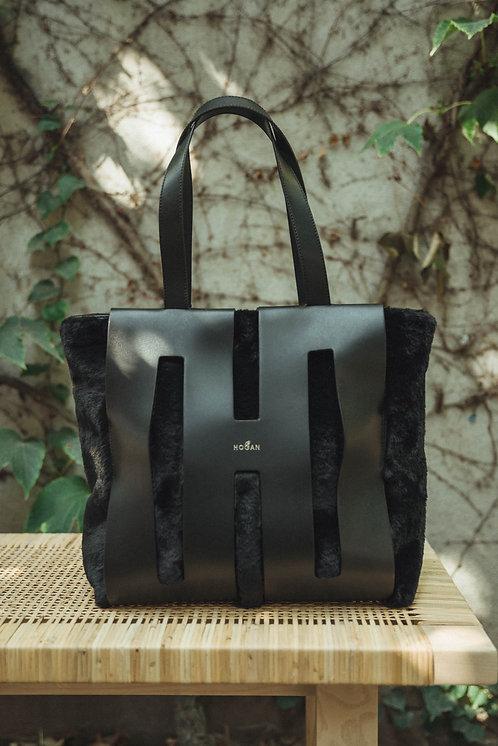 Hogan shopping bag fur black