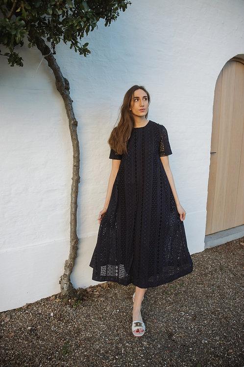 Kanten maxi jurk blauw