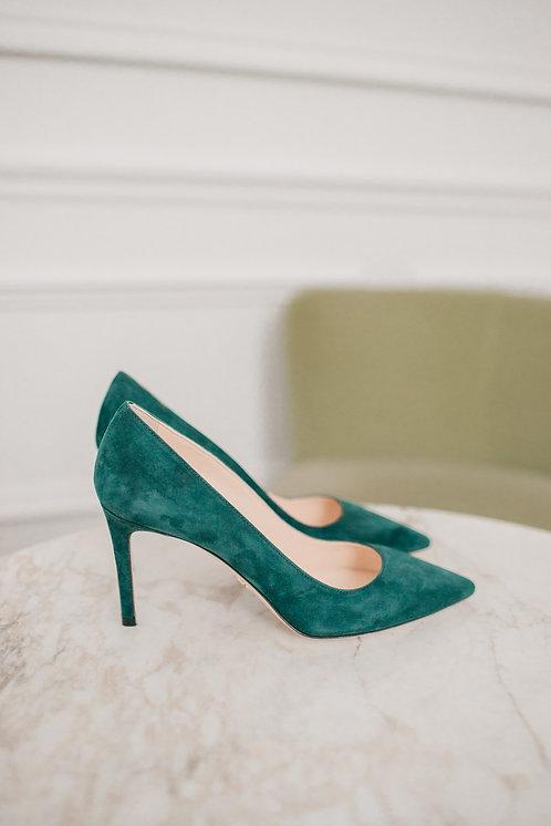 Prada heels - green daim