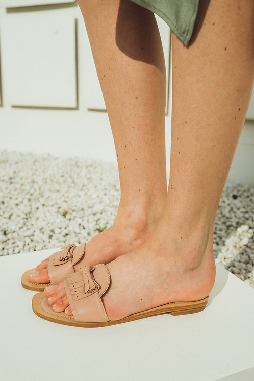 Mules leather pink