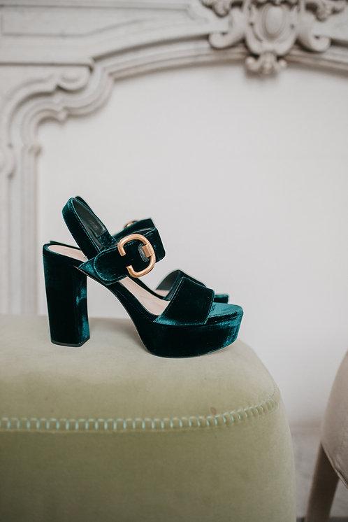 Prada sandal - green velvet