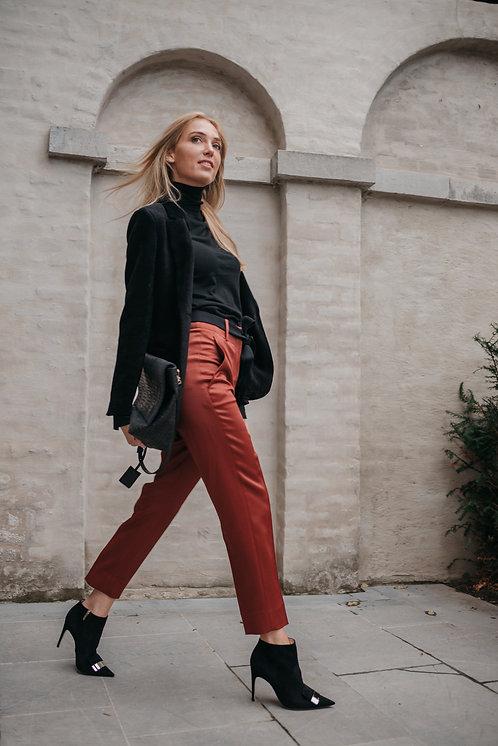 Silk bordeaux trousers