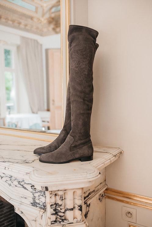 Sergio Rossi stretch boots - grey suede