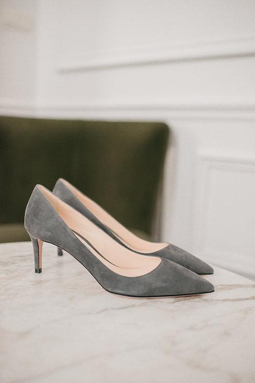 Prada heels - grey daim