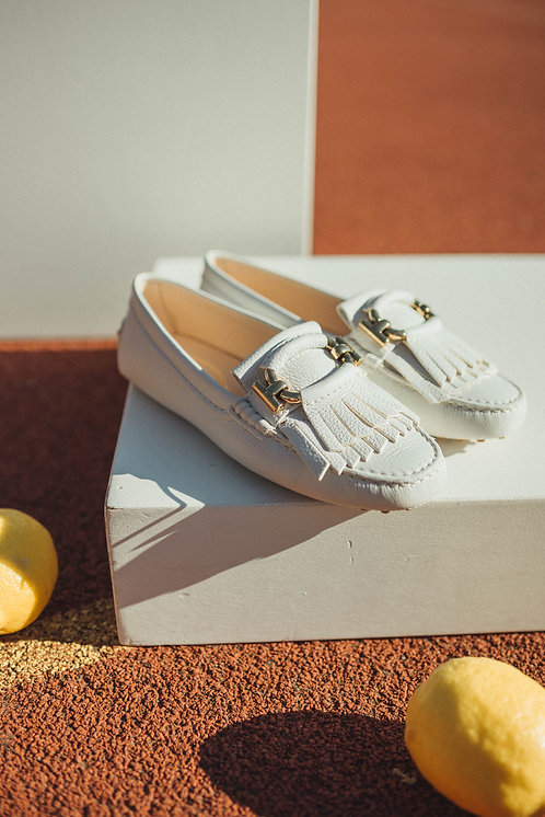 Tod's loafer white & gold details