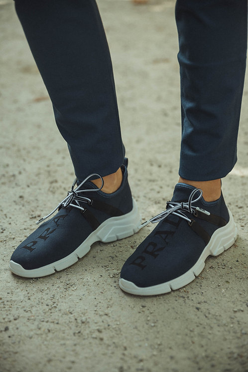 Prada sock sneakers logo blue/black