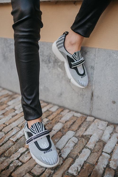 Prada cloudbust sneakers - silver/black stretch